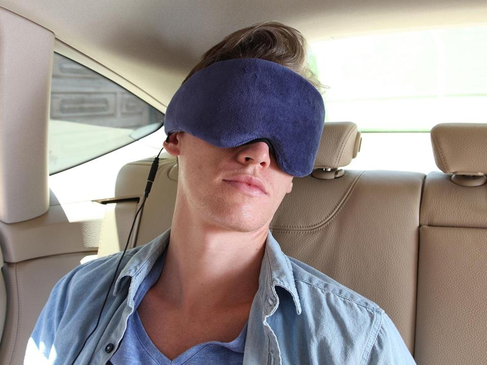 1 Voice Sleep Headphones. It's a velvet eye mask made of memory foam with built-in headphones that are compatible with any phone or MP3 player. Photo credit: Handout -- 22suitcase